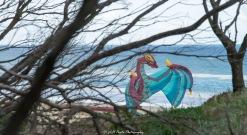 Dragon kite preparing for flight