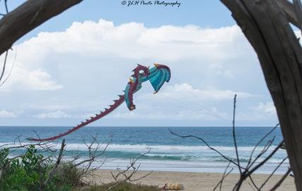 Dragon kite in flight