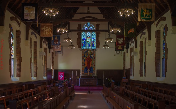 Gold Coast Open House St. Albans Chapel 1920.21 inside with beautiful reflections from outside
