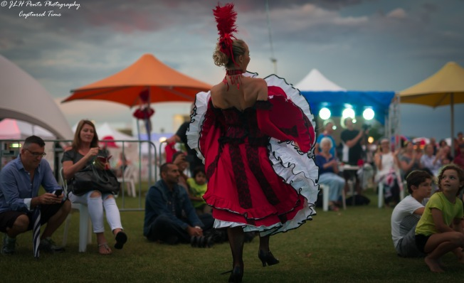 French Cararet Dancer working the crowd